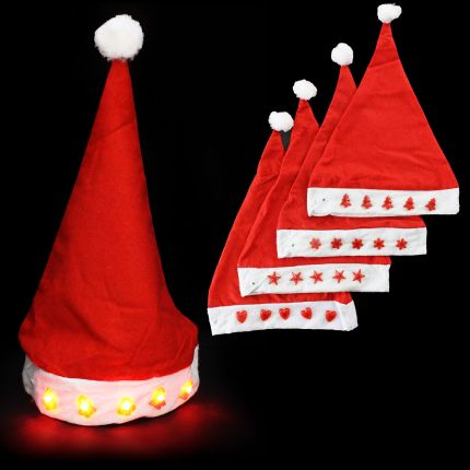 santa hat with light up christmas trees