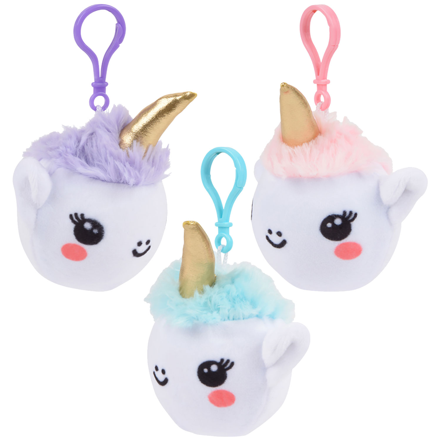 Plush Squishy Unicorn Clip On 4 Inch Assorted Colors